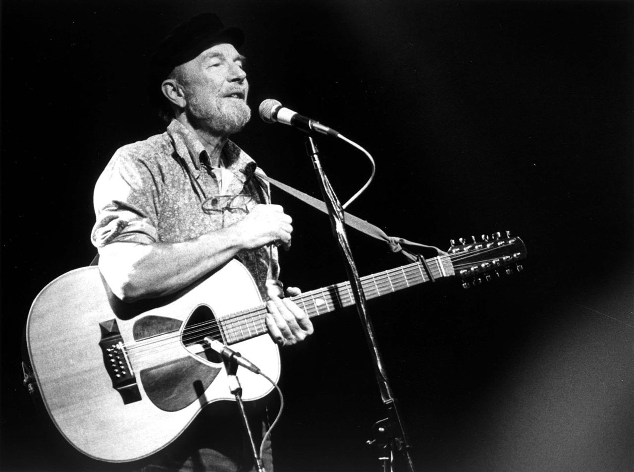Pete Seeger, many years after his local appearance, which was delayed by legal wrangling.