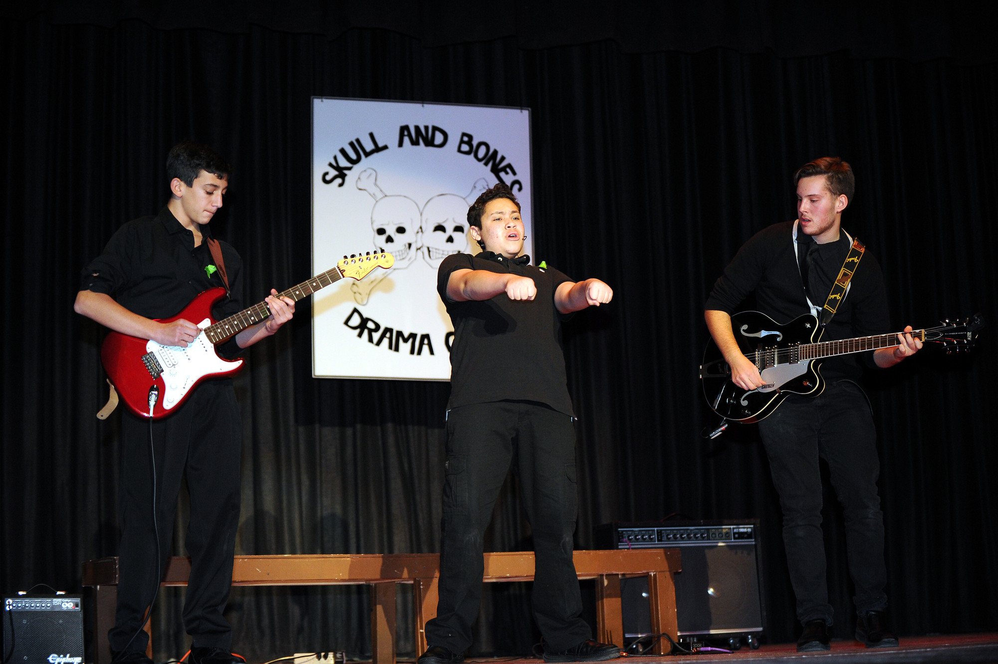 "Anthony Plantyn, center, belted out ""Crazy Little Thing Called Love"" from the show ""We Will Rock You."""