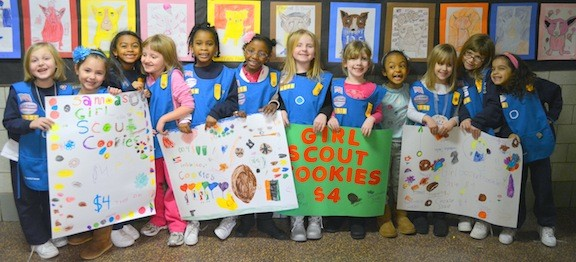 Girl Scouts getting ready to start the cookie season are, from left, Kaitlyn, Gabriella, Chassity, Rose, Alana, Chloe, Harley, Erinne, Kennedy, Josie, Brianna, and Alani.