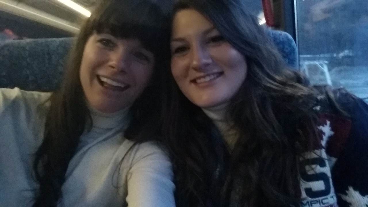 "Devin Logan, right, took a ""selfie"" on the team bus with Olympic slopestyle teammate Keri Herman."