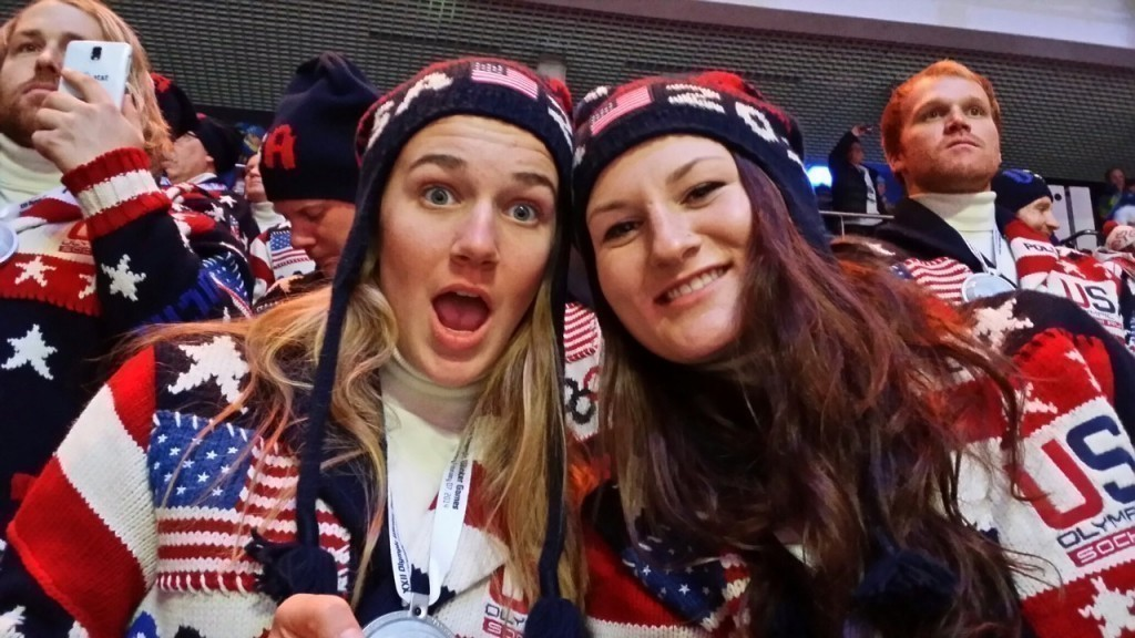"Devin Logan, right, in the Olympic Stadium in Sochi, in a ""selfie"" she took with Olympic slopestyle teammate Julia Krass."