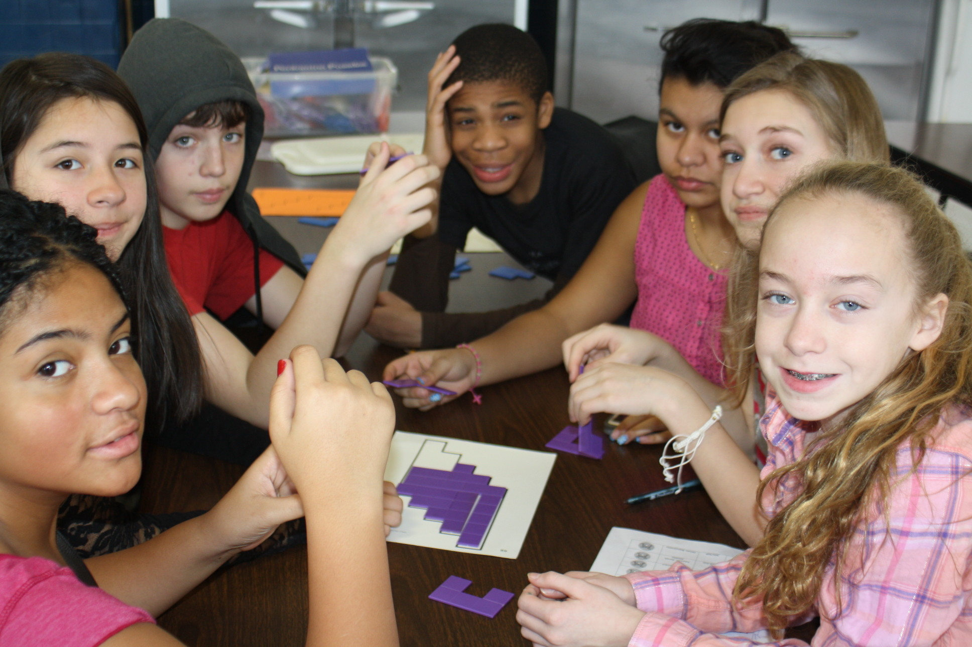 As part of the Olympic Challenge at Howard T. Herber Middle School in Malverne, students worked in teams to solve a math puzzle.