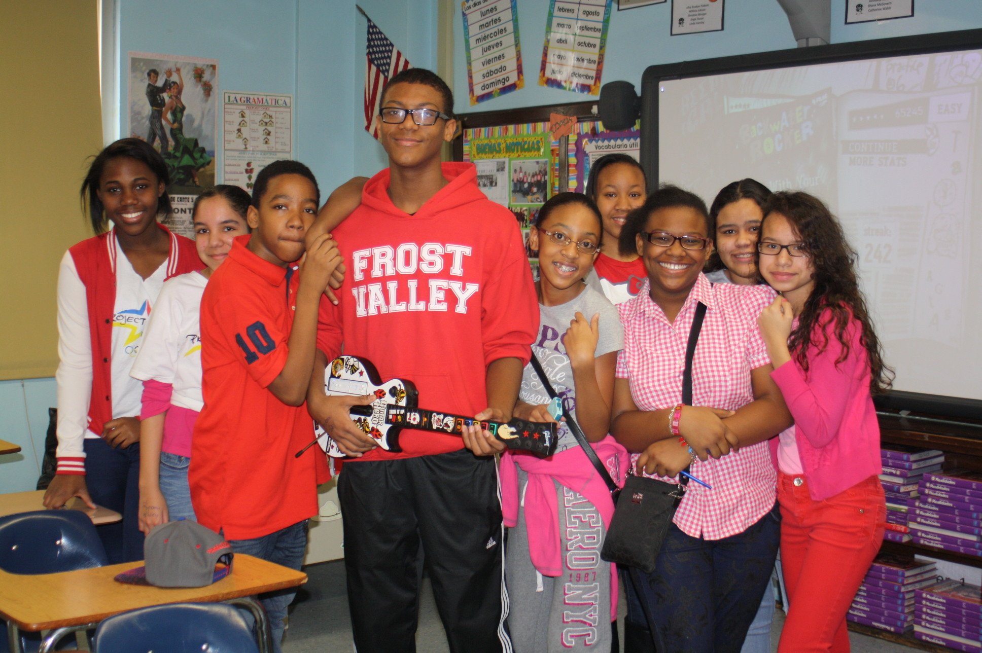 "At the Howard T. Herber Middle School Olympic Challenge in Malverne, student teams completed a ""Guitar Hero"" challenge."
