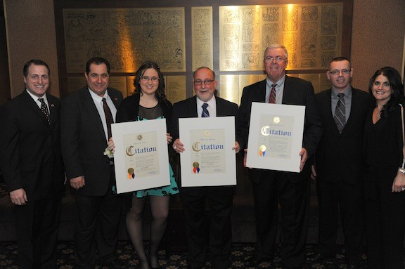 From left, Assemblyman Brian Curran, School Board Trustee Mike D'Ambrosio, Youth Award winner Kelsey Muller, Citizen of the Year Fred Koller, Richard Murphy of Business of the Year for South Nassau Communities Hospital, and newly installed Chamber President Tom Lanning and his wife, Daurene.