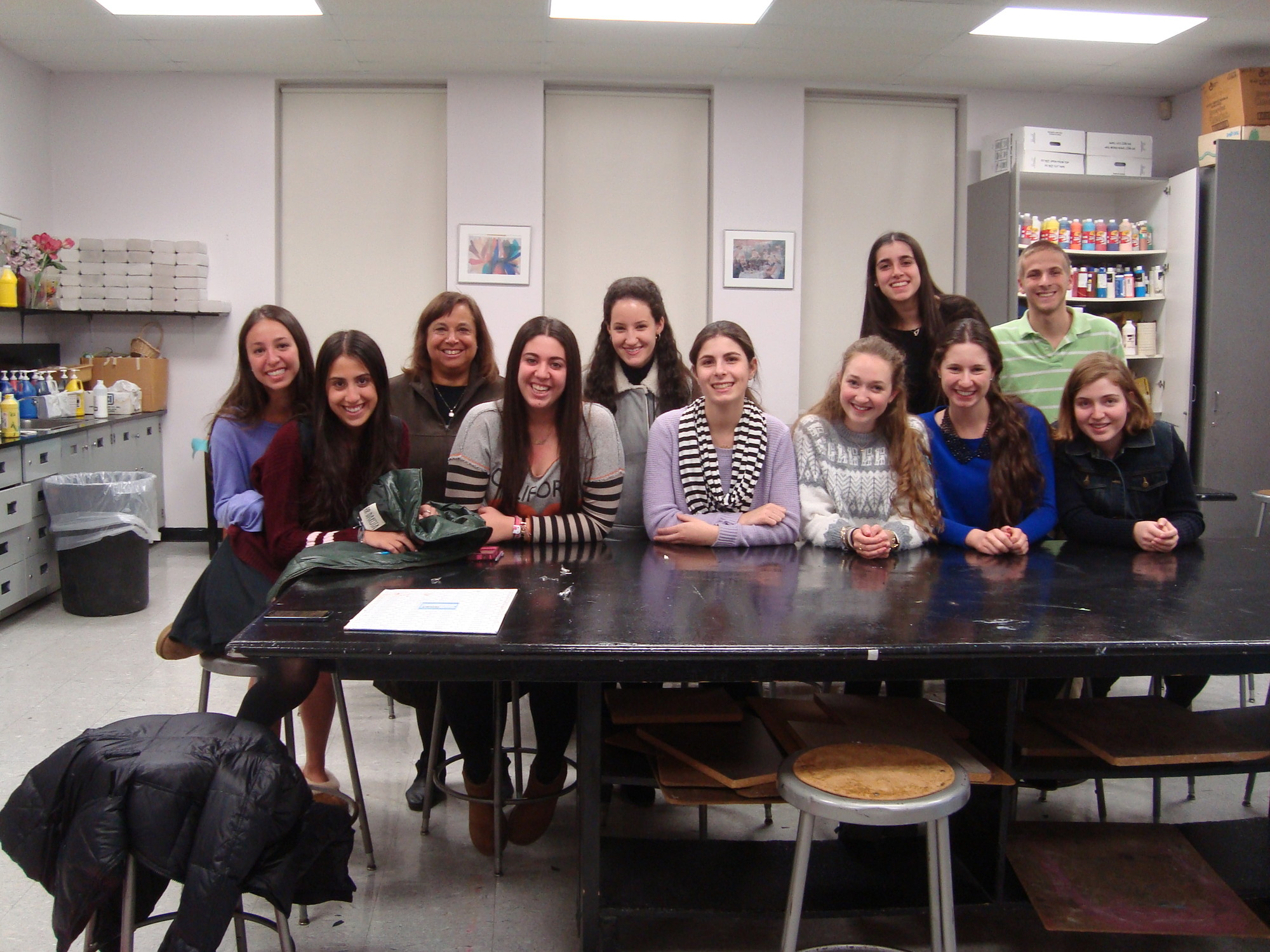 Juniors in HAFTR's Art Institute program learned about Parsons School of Design from alum Jodi Cooperberg, fifth from left. Teacher Dale Malekoff is third from left.