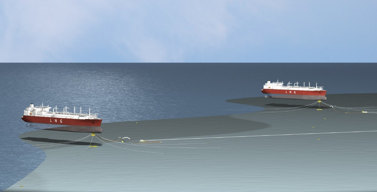 A computer rendering of what the Port Ambrose liquefied natural gas terminal would look like.