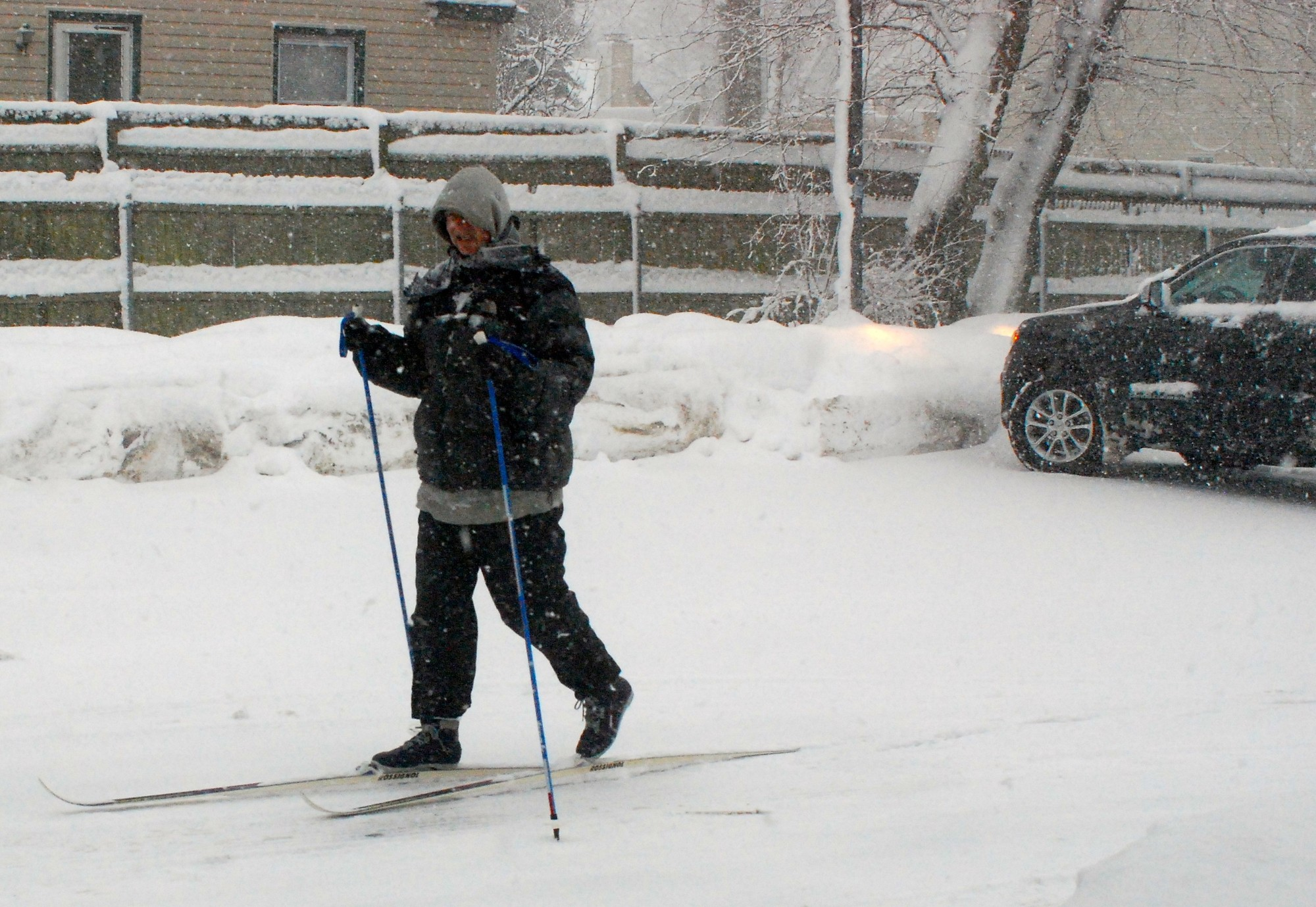 Cross-country skis were probably the best mode of transportation on Feb. 13, when a nor'easter rolled through Bellmore-Merrick. This skier made his way through a parking lot on the south side of Merrick Road in Merrick around 8:30 a.m.