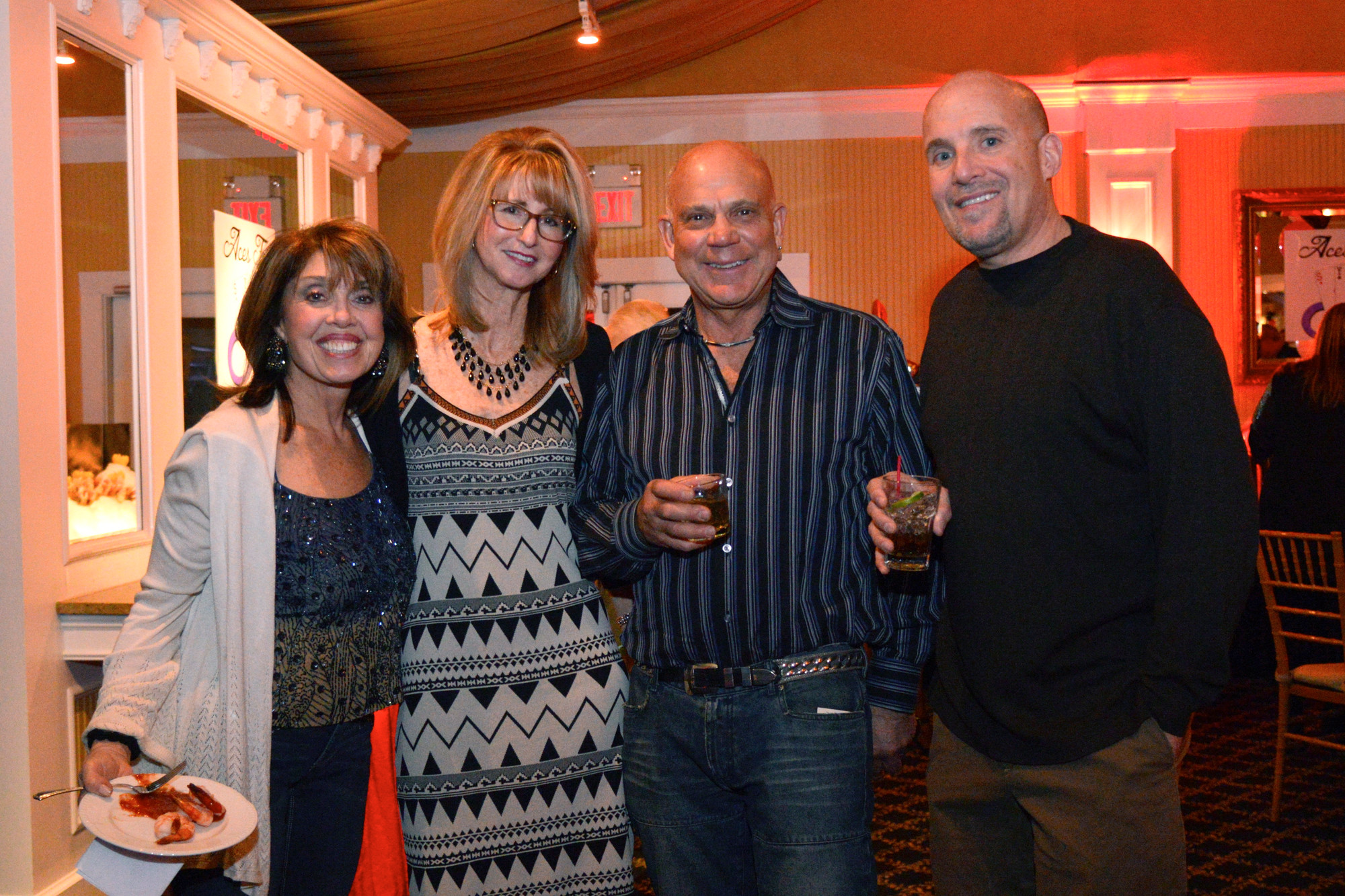 Friends of the Jacoby family Fran Slovin, Hilly Xerri, Lenny Slovin, Ray Xerri at the Sydne Jacoby Foundation Casino Night fundraiser held at bridgeview in Island Park