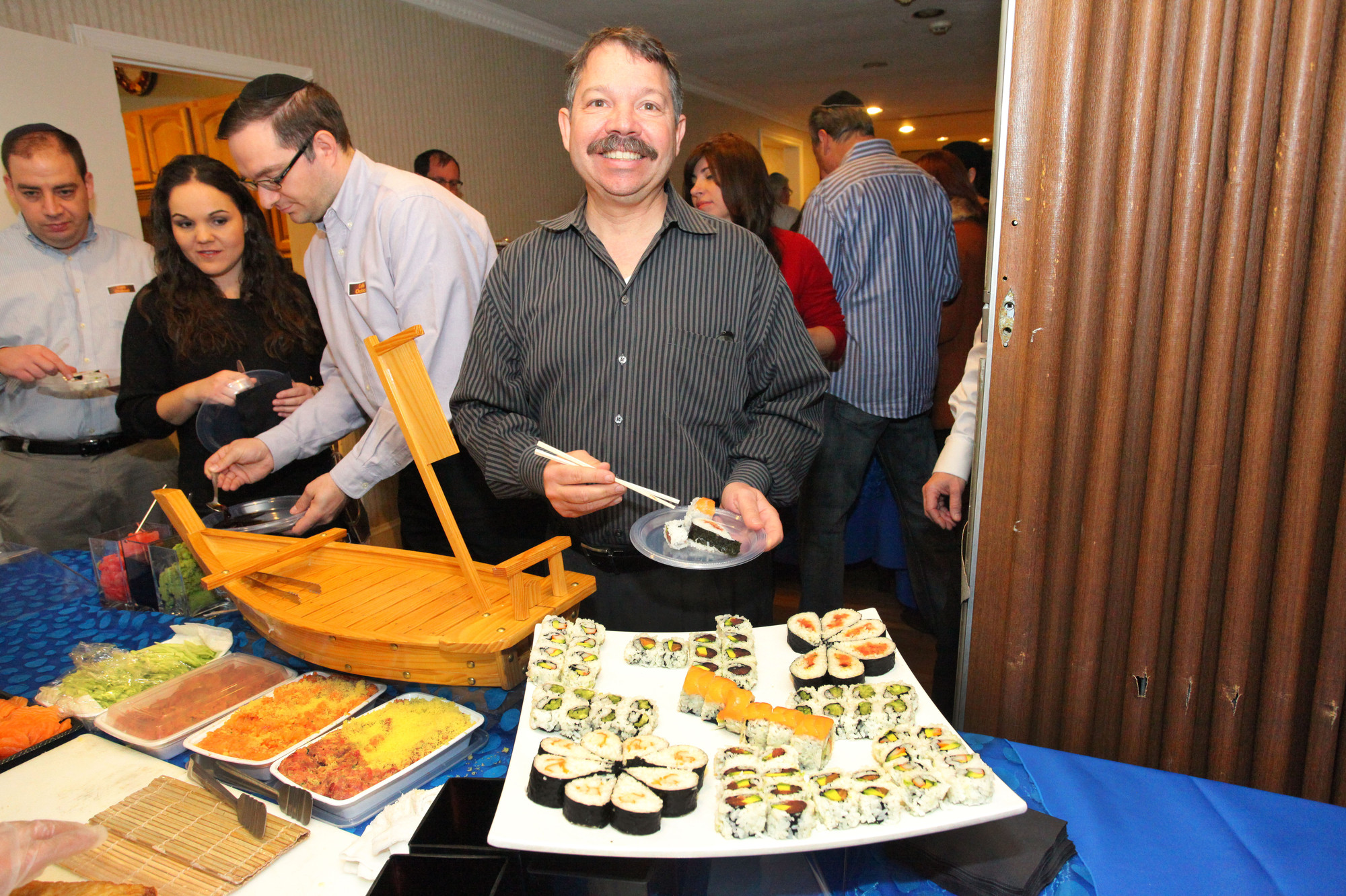The sushi bar attracted many guests, including Woodmere resident Scott Langstein.