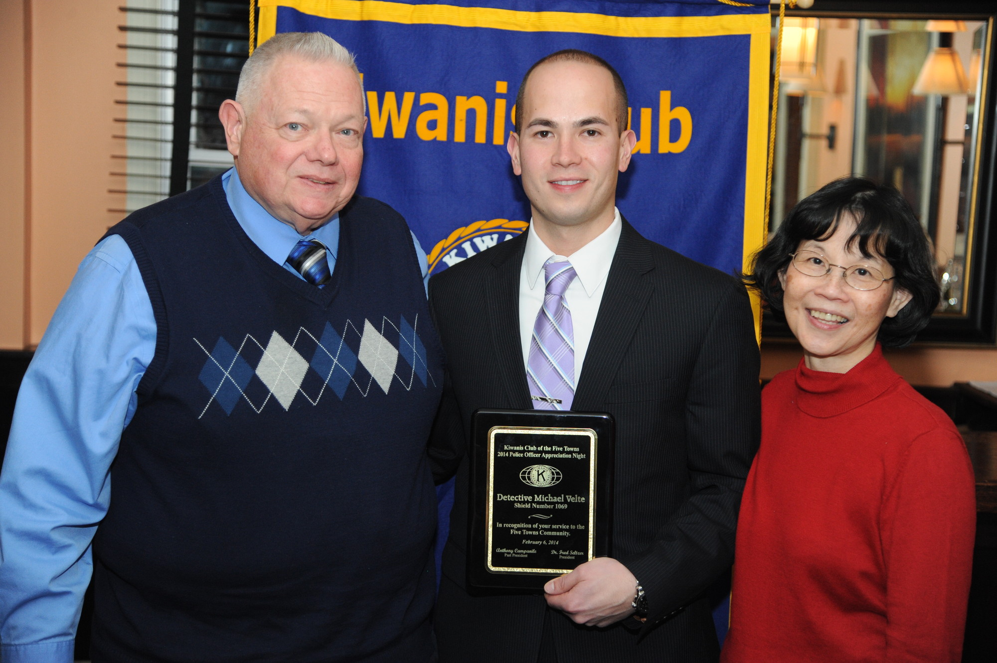 It was a family affair for Det. Michael Velte who was congratulated by his parents, Barry and Patricia.