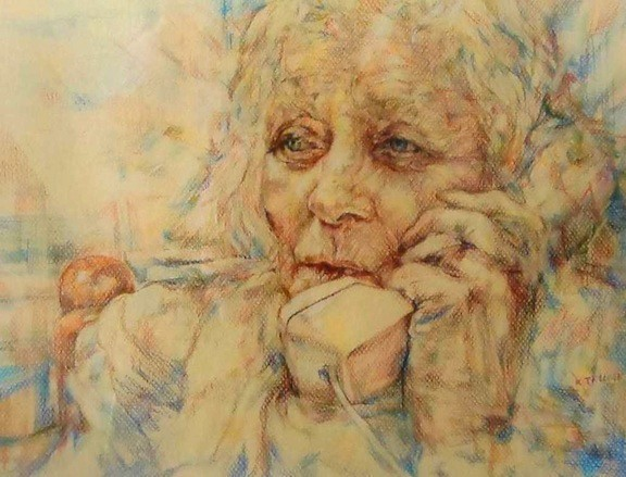 "Latest Word, a pastel/pencil work, by Katherine M. Trunk, of East Meadow, will be on display at the ""Women of the World"" exhibit."