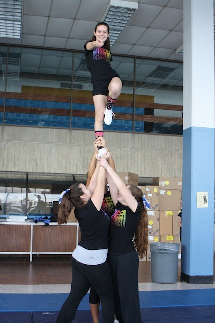 Long Beach High School cheerleaders practiced stunts at a recent clinic.