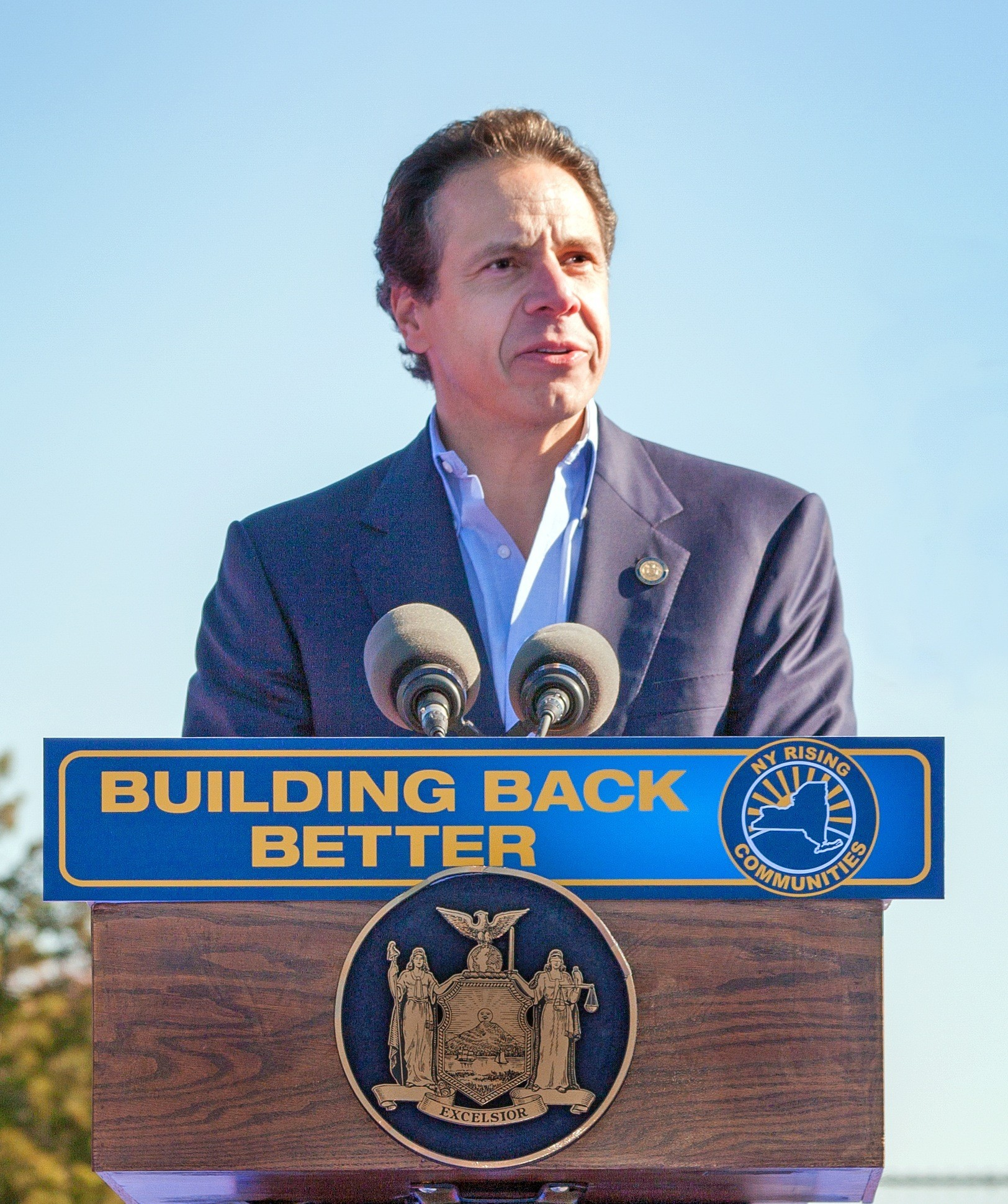 Gov. Andrew Cuomo, pictured at a press conference in Long Beach last November, approved a $12 million bond measure that allows the city to cover costs associated with Sandy and a 2011-12 deficit.