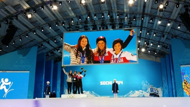 Devin Logan, left, on the podium in Sochi with her silver medal, alongside Canadian medalists Dara Howell (gold) and Kim Lamarre (silver)