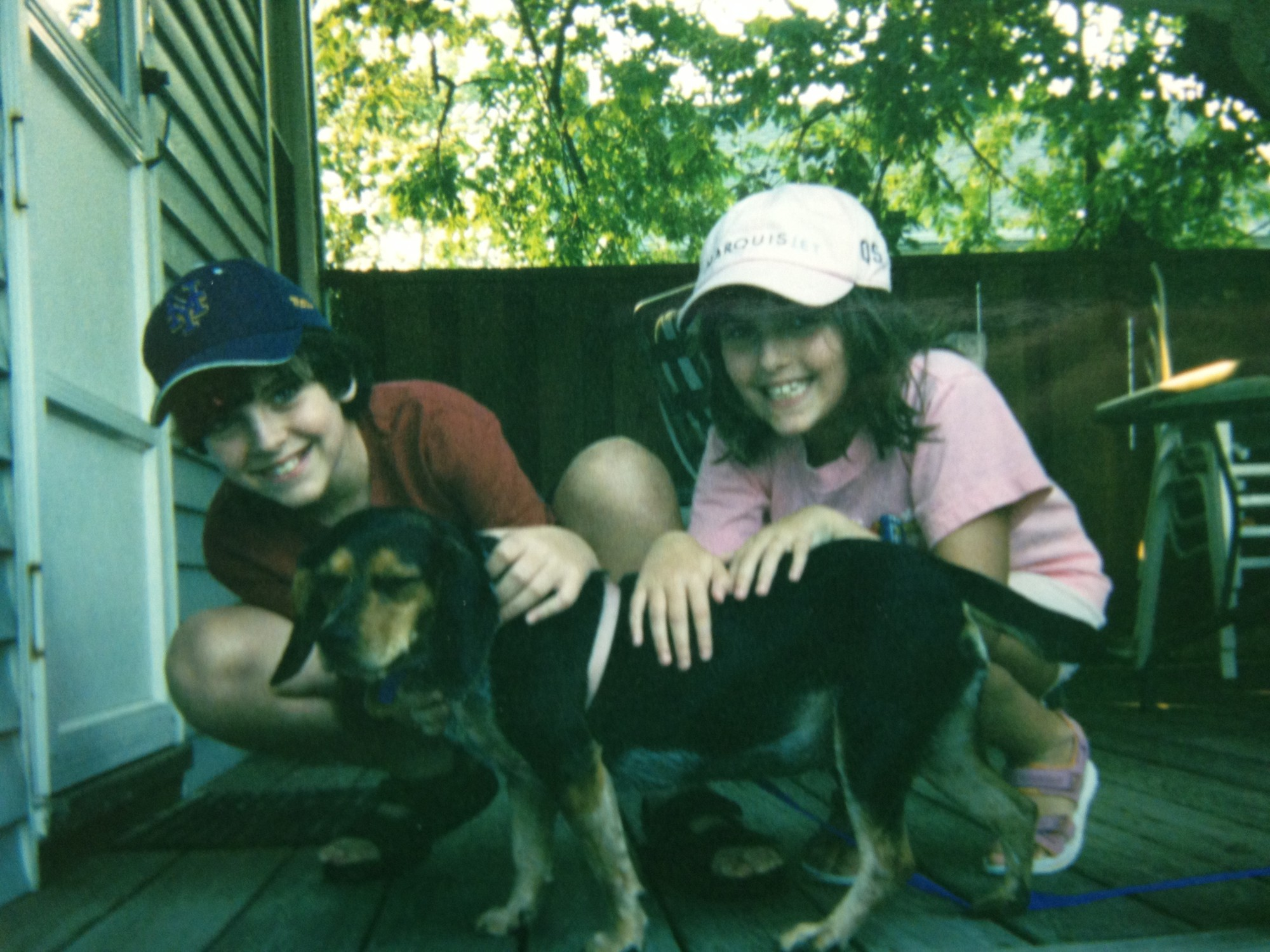 Matthew and Laura Infield with Dakota the day she was adopted from a local shelter.