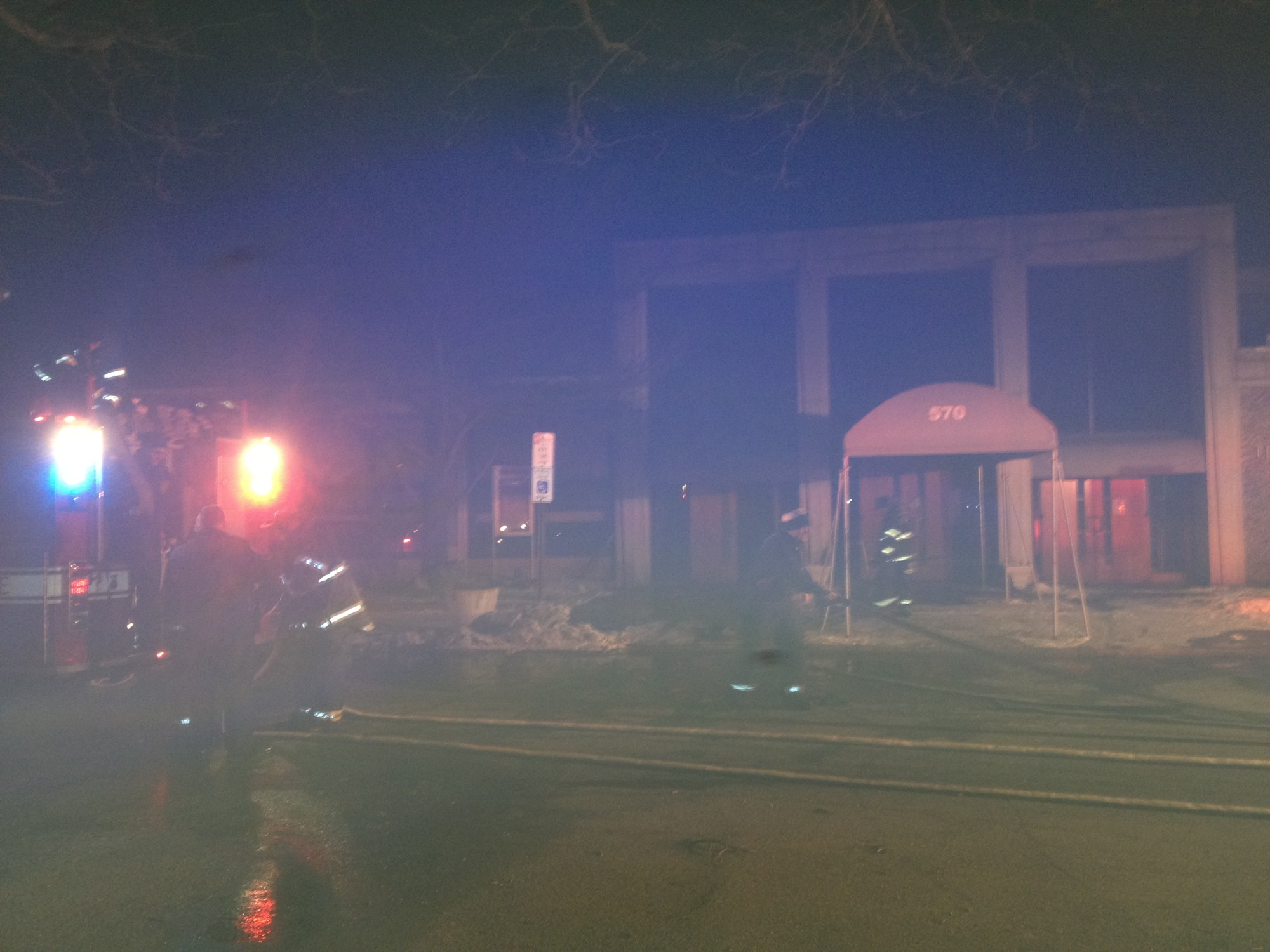 Long Beach firefighters at the scene of Wednesday's blaze at Temple Beth El.