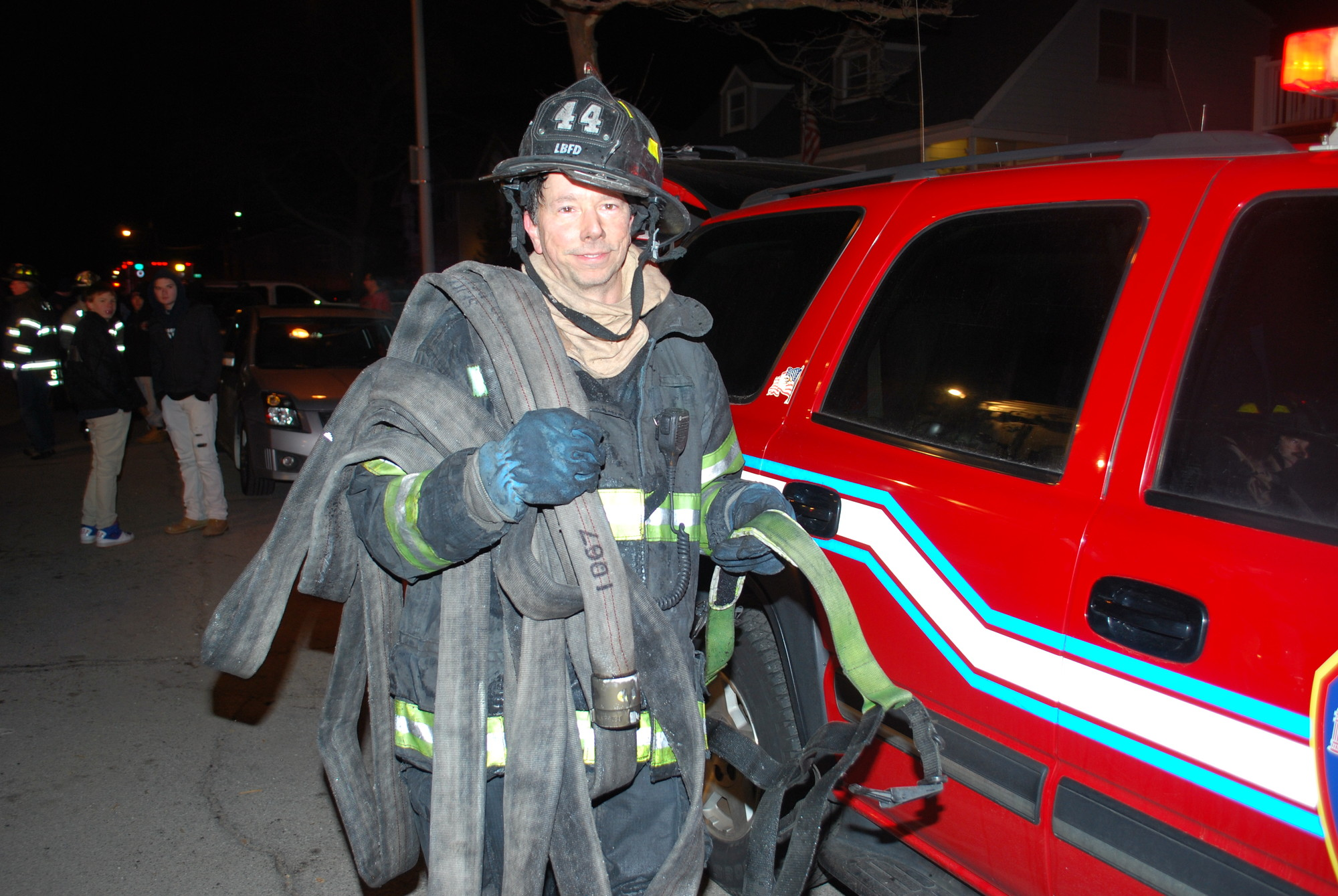 Lt. Stan Rozyckt of LBFD Engine 44 at the scene of the fire.