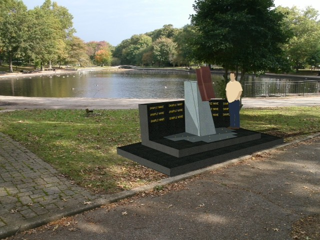 A rendering of the 9/11 memorial, which will feature a piece of steel from the World Trade Center, at its expected home at Halls Pond Park in West Hempstead.