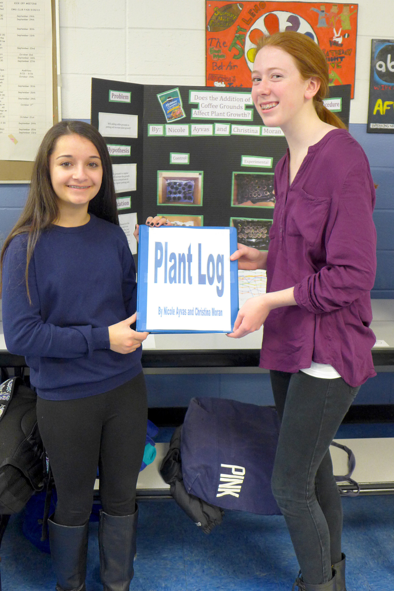 Science Fair winners Nicole Ayvas and Christina Moran experimented on plants and coffee.