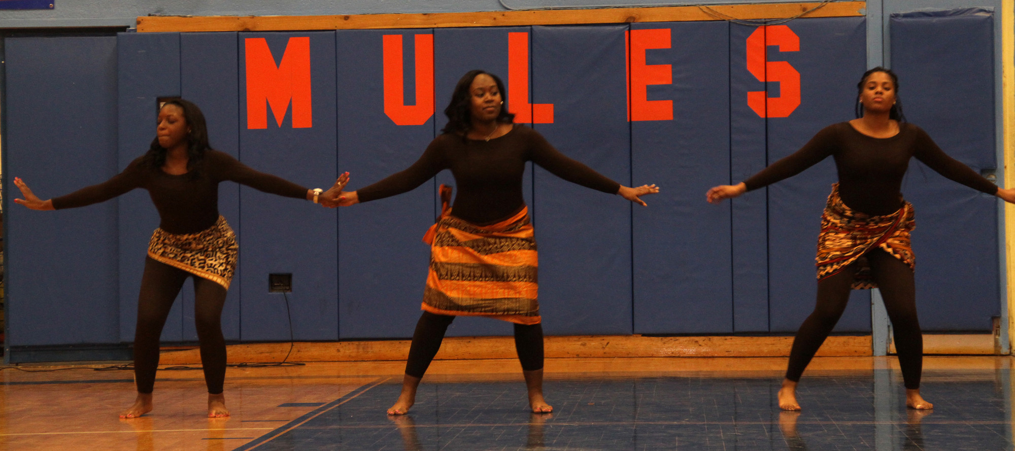 Jessica Findlayter, Courtney Moore and Tori Thomas performed an African dance at this year's event.