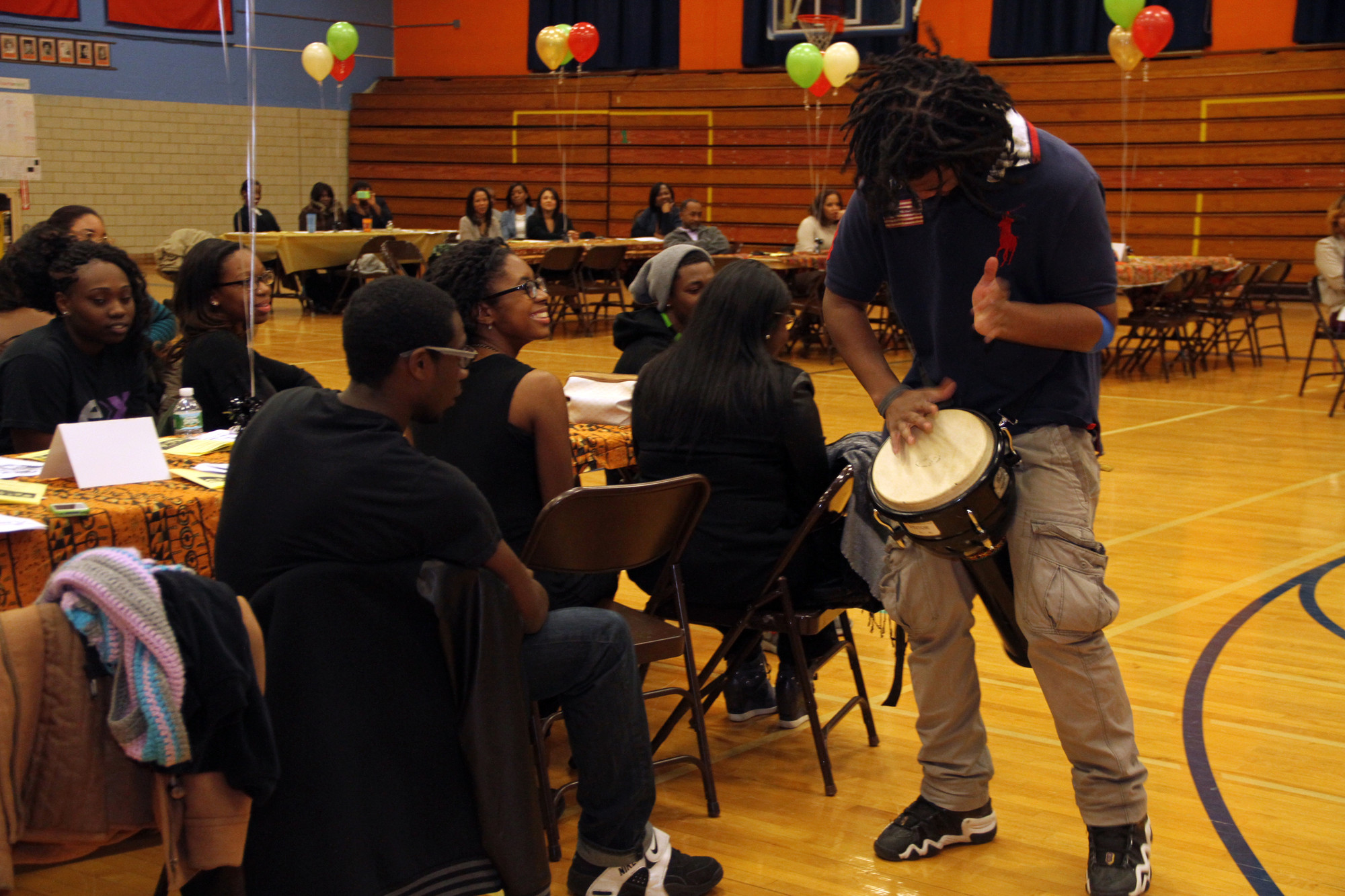 Maurice Facey laid down a rhythm for guests to groove to at Malverne High School's Black History Month celebration on Feb. 27.