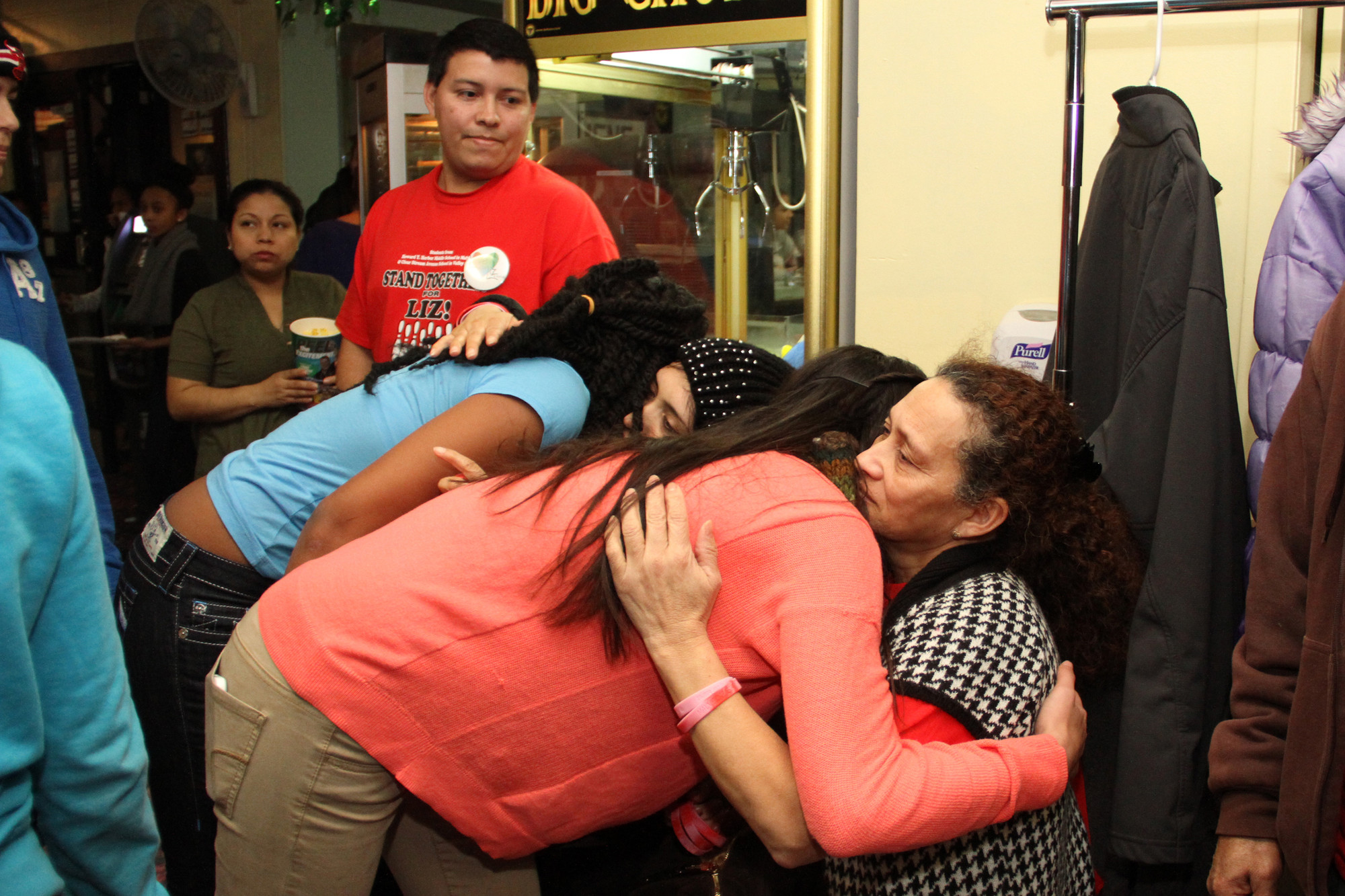 Clear Stream Avenue students Aryana Phillips and Brianna Custodio consoled the Garcia family during the event.