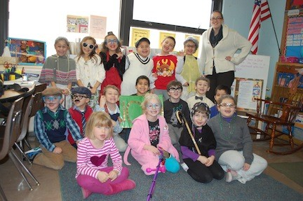 Students in Christine Anderson's first-grade class at Willow Road School dressed up as 100-year-olds on Feb. 26.
