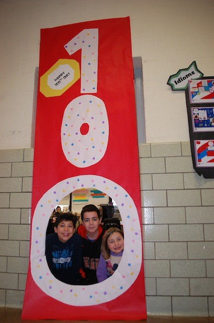 Willow Road students in Melanie VanEron's class, Robert Ruffino, Michael Maressa and Mikayla Cittadino celebrated the 100th day of school.