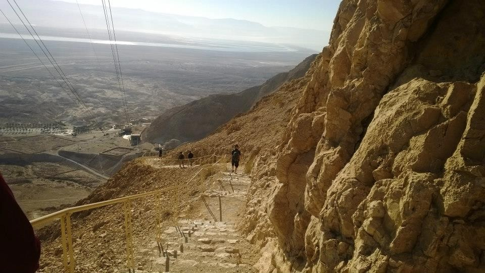 After watching the sun rise, we descended Masada down its narrow snake path.