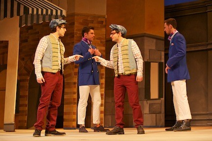 "Hofstra University students (from left) Ryan Molloy, Brendan Hickey, Matt Engle, and Will Atkins star in ""The Comedy of Errors,"" which opens Thursday at Hofstra's John Cranford Adams Playhouse."