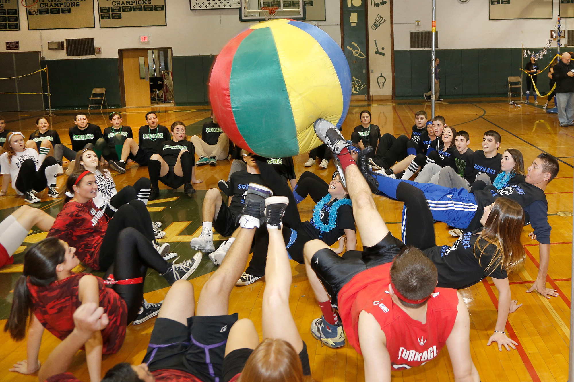 Juniors blocked a goal during the crab soccer game.
