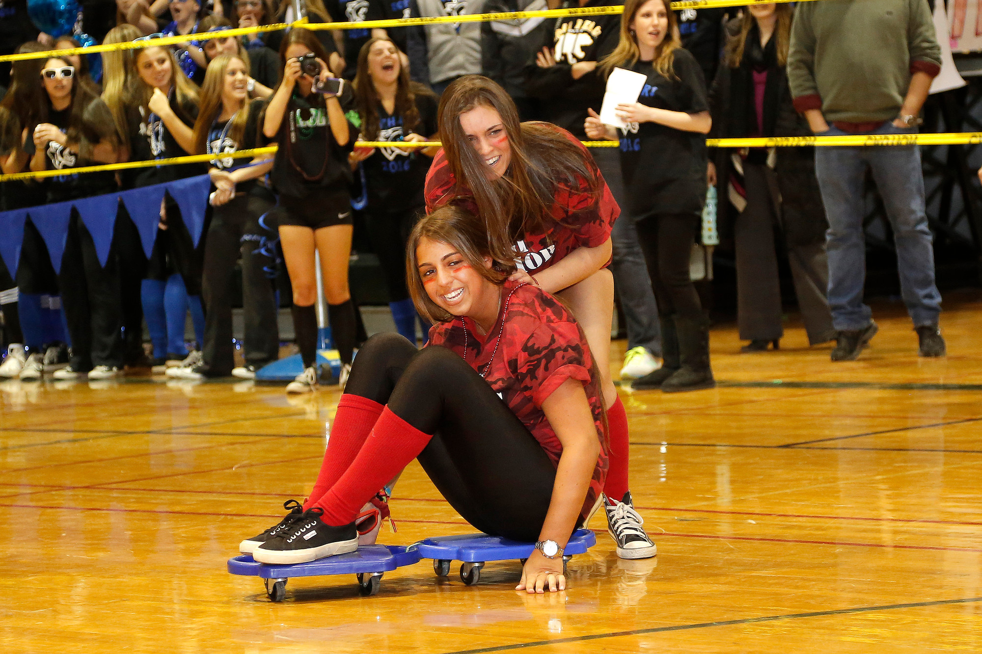 Juniors Samantha Pellegrino and Sara Hayes competed in a relay.