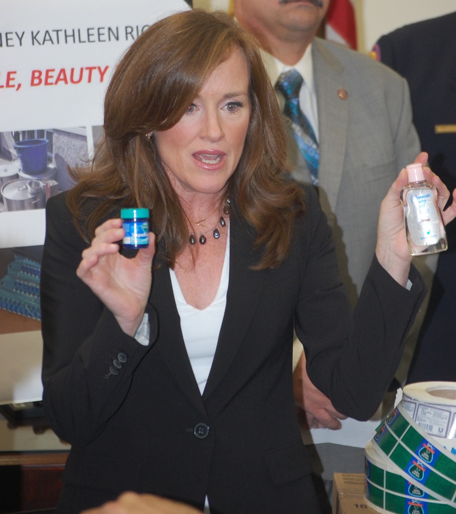At the Nassau County CourtHouse in Mineola, District Attorney Kathleen Rice showed the kinds of products the duo was counterfeiting.