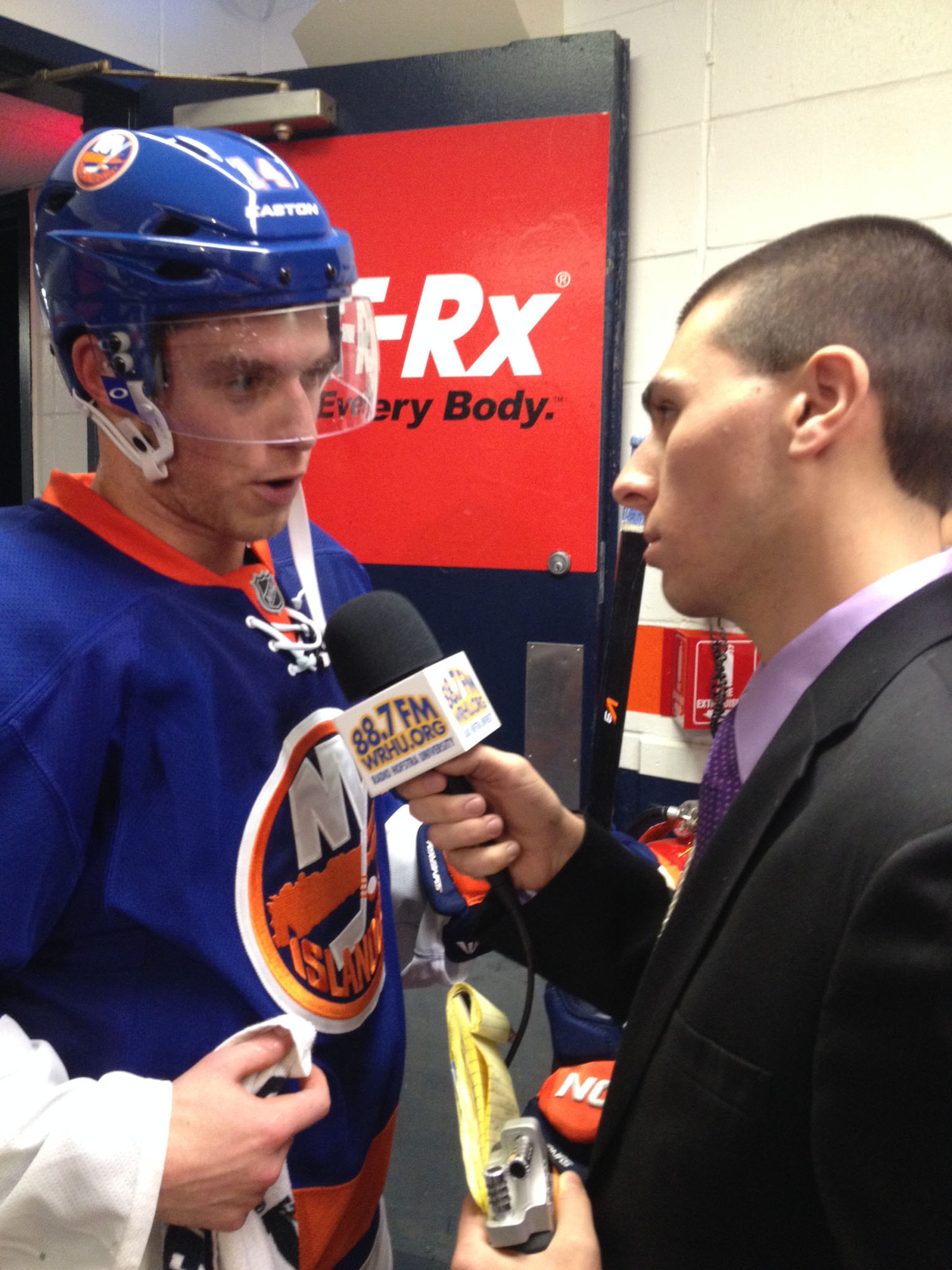 Daniel Savarino interviewed New York Islanders defenseman Thomas Hickey during an Islanders-Philadelphia Flyers game last Oct. 26.
