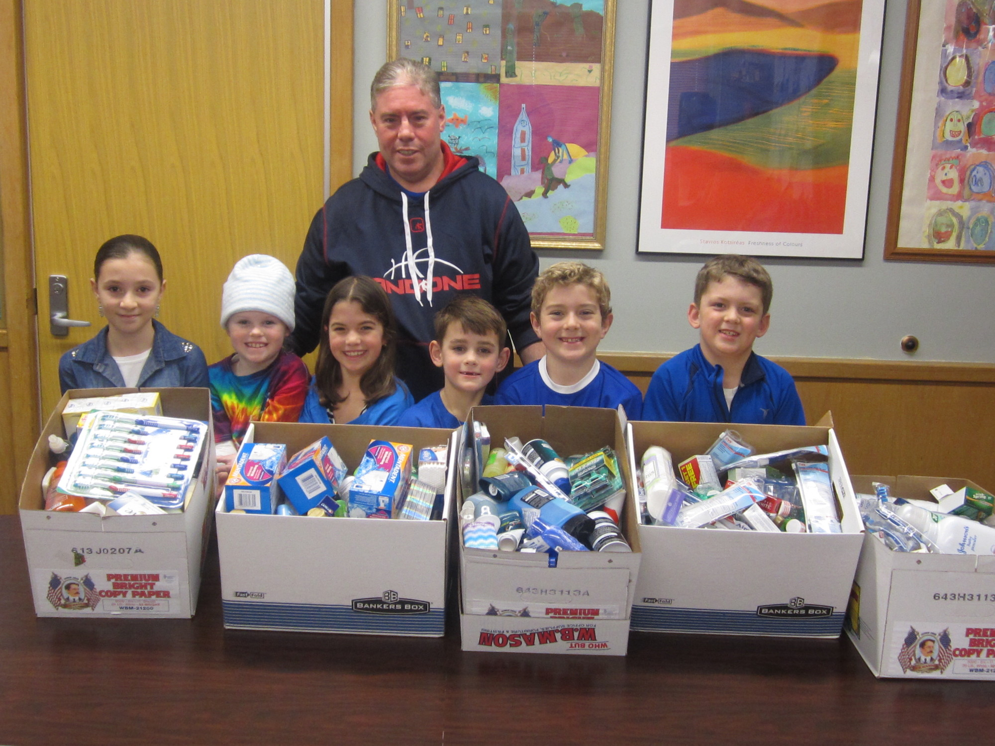 For the first time, Jerry Harrington, a Saw Mill parent, worked with his children's school to organize a collection for military personnel overseas after the holiday season.