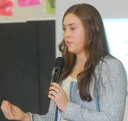 Kaley Young, a 20-year-old yoga and dance instructor, brought the �She Taught� workshop to Merrick Avenue Middle School on Monday to teach students about the power of positive thinking.