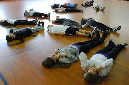 Among the exercises that students took part in during the workshop was meditating on what they are thankful for in their lives.