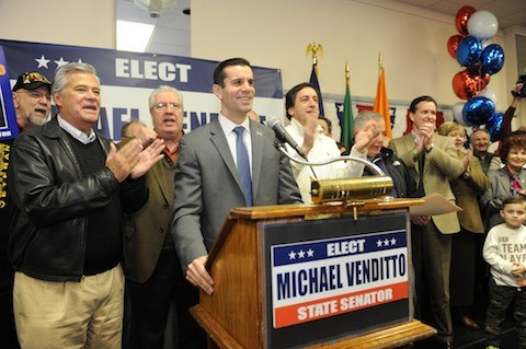 Long Island Republicans have lined up in support of County Legislator Michael Venditto, a Massapequa Republican, as their party's candidate to succeed former Sen. Charles Fuschillo Jr. in the New York State Senate. Joining Venditto at a kick-off campaign rally on March 15 at the American Legion Hall Post 1066 in Massapequa were Dean Skelos, co-majority leader of the State Senate; Carl Marcellino, a North Shore state senator; Ed Mangano, Nassau County's executive; George Maragos, Nassau's comptroller; Norma Gonsalves, presiding officer of the County Legislature; Kate Murray, supervisor of the Town of Hempstead; and Fuschillo.