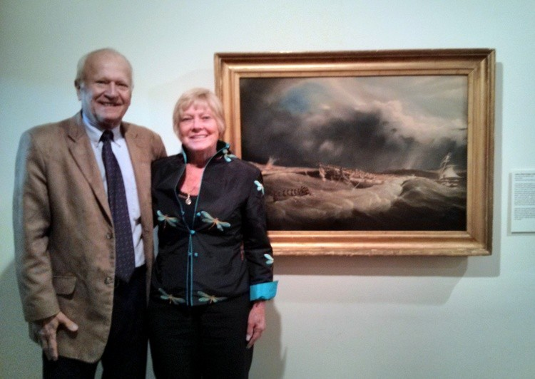 "Lynbrook Village Historian Art Mattson and his wife, Nori, at the LI Museum, where their painting, ""The Wreck of the Mexico"" was unveiled last weekend, to great acclaim, at LIM's season opening reception. This is the museum's 75th year."