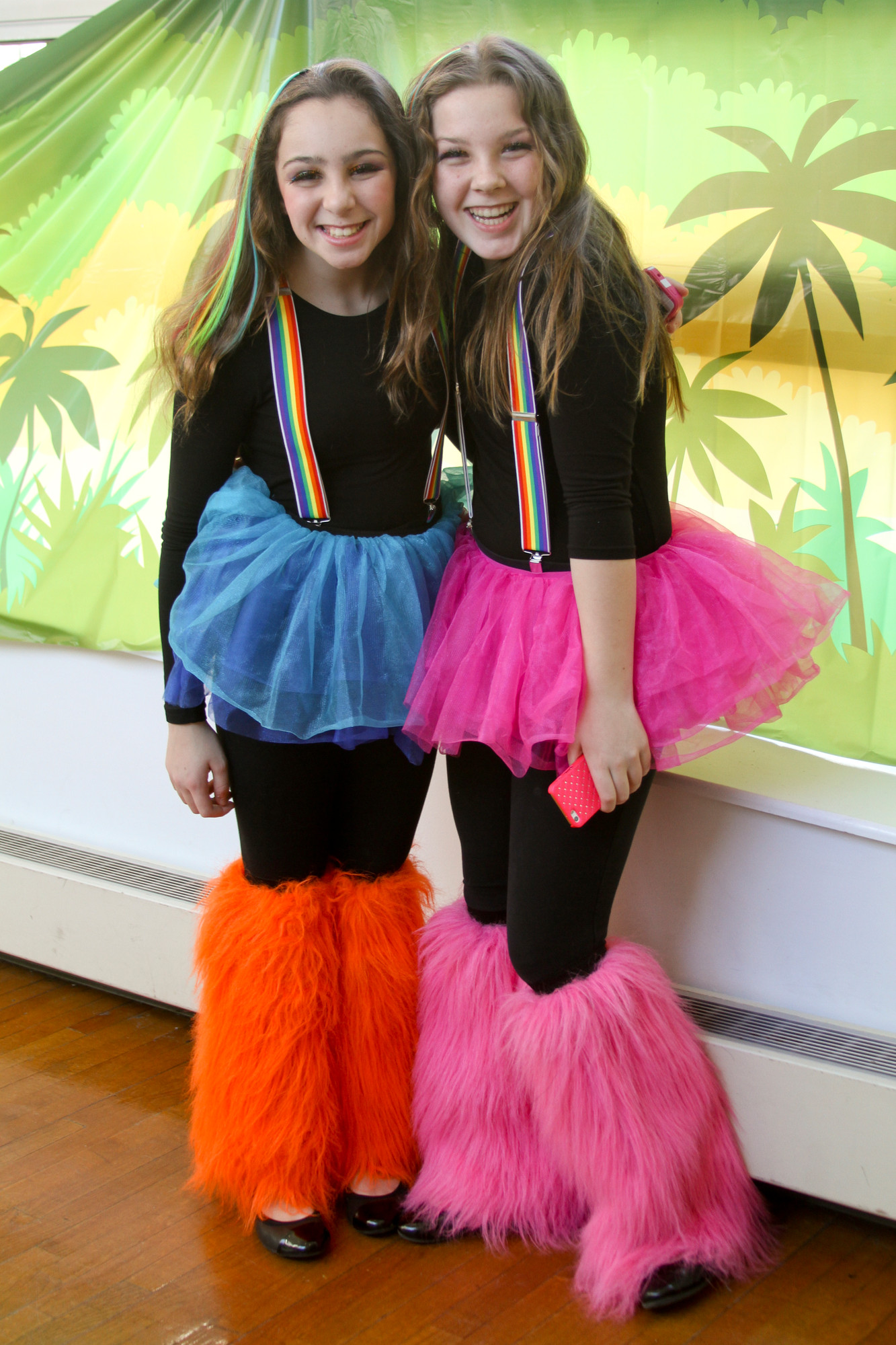 Purim in the Jungle was the theme of Chabad of Hewlett's Purim celebration. Ally Heyman, left, and Lauren Grauer, both 11, were ready for a colorful safari.