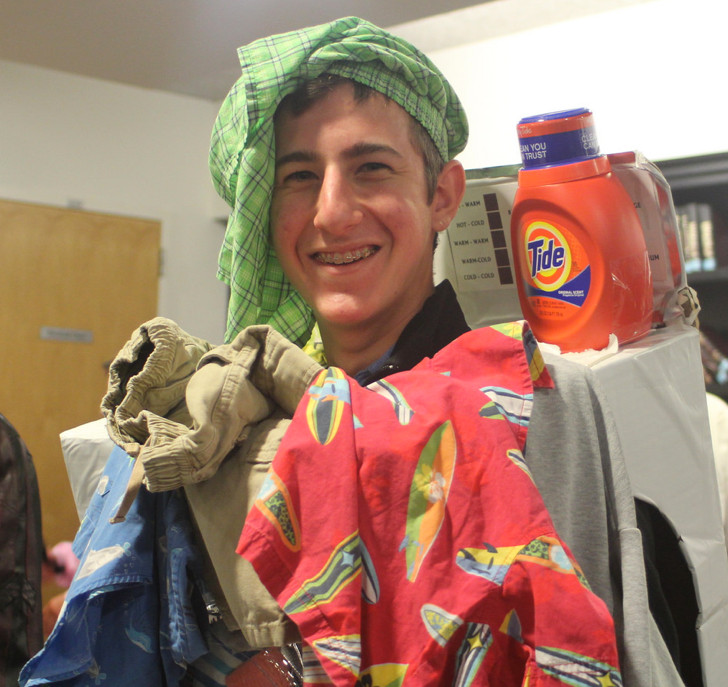 Costumes are a large part of celebrating Purim. DRS junior Yehuda Schein appeared ready to go through the rinse cycle.
