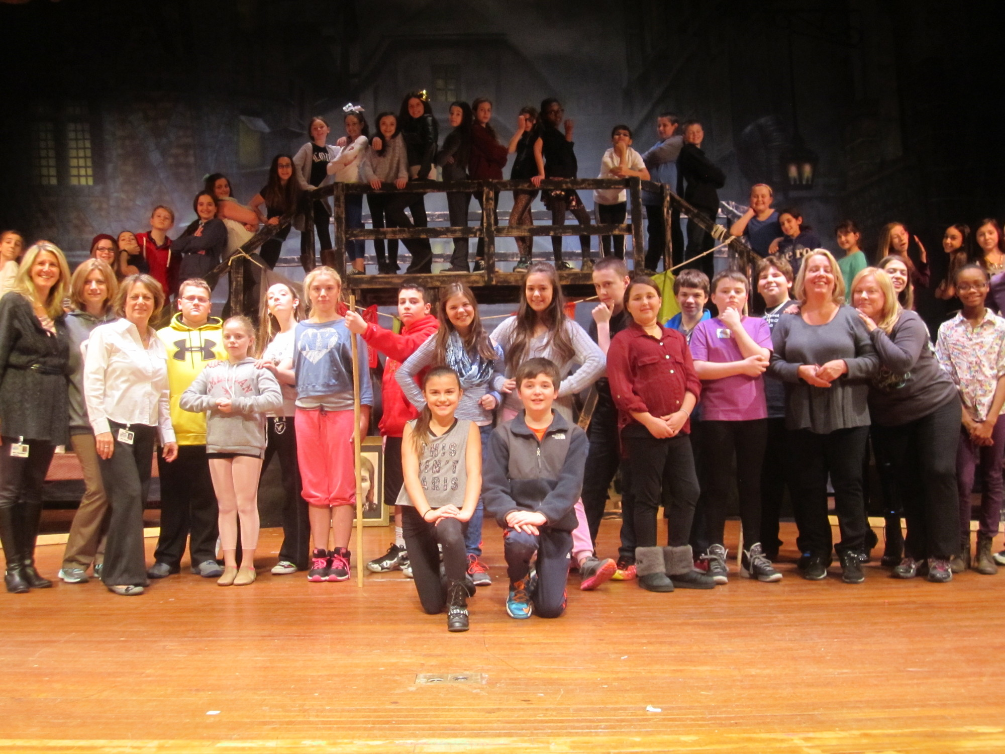 The cast from the North Merrick School District�s production of �Oliver!� which will play Friday, March 21 and Saturday, March 22 at Brookside School, assembled onstage during a rehearsal on March 10.