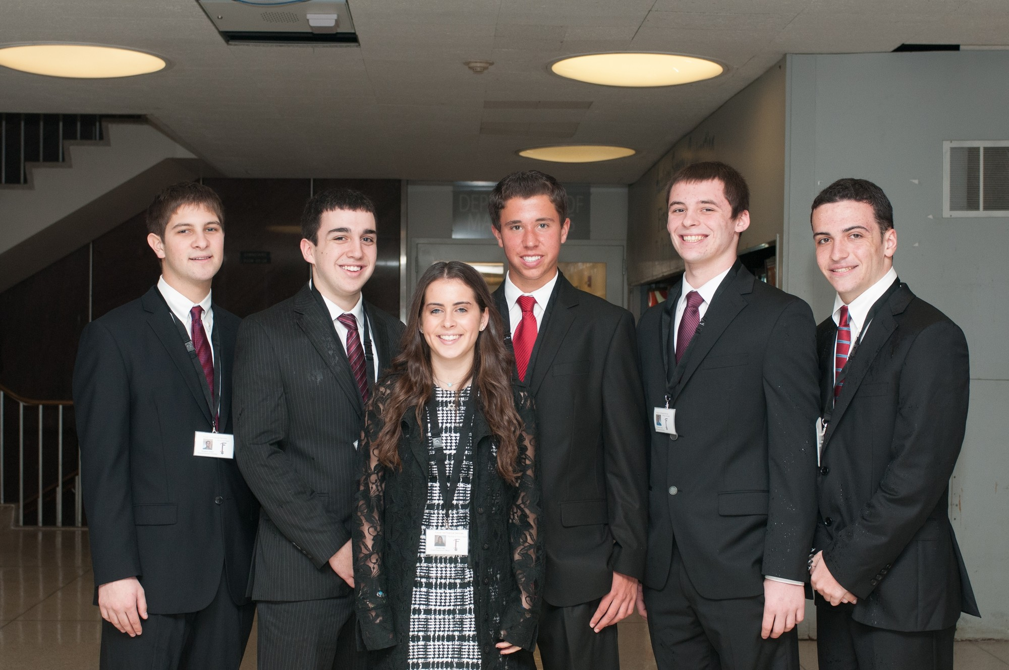 Future 1st Financial Services was one of two Hewlett High virtual enterprise teams that earned a spot in the National Business Competition in New York City. From left were Ben Lampert, Michael Kornfeld, Mollie Falk, Michael Kreisman, Richard Lyons and Tyler Kenny.