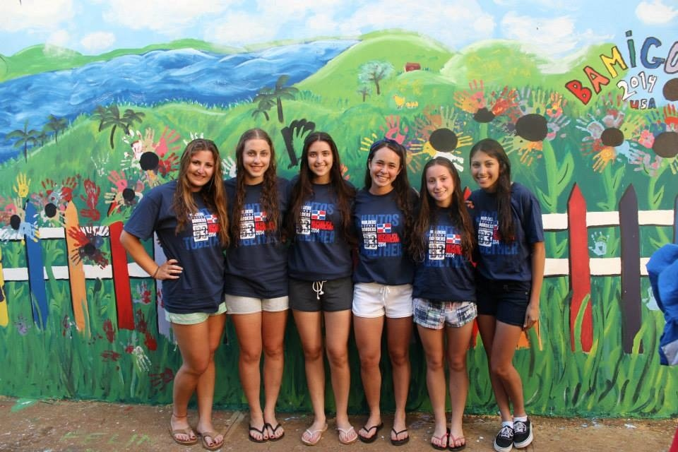 A half dozen Five Towns high school students spent winter break in the Dominican Republic helping to build latrines. From left in front of the B3 team mural were Amanda Greene, Julie Troyetsky, Natalie Dorfman, Julia Weinstock, Alexa Cohen and Georgina Hudja.
