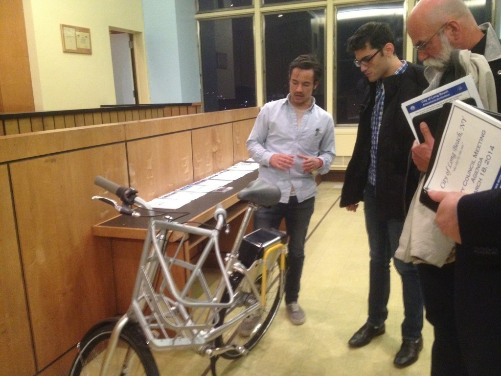 Residents checked out a Social Bicycle on display at Tuesday's City Council meeting.