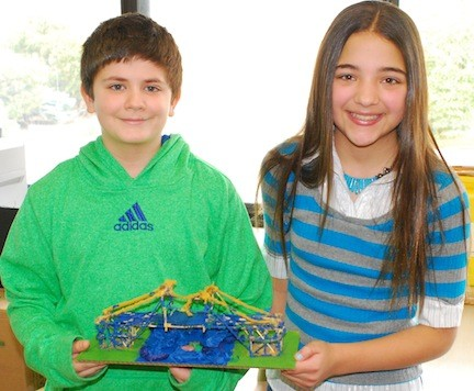 Levy-Lakesiders Andrew Brinton and Mikayla Gorelin showed off their bridge before the contest got under way.