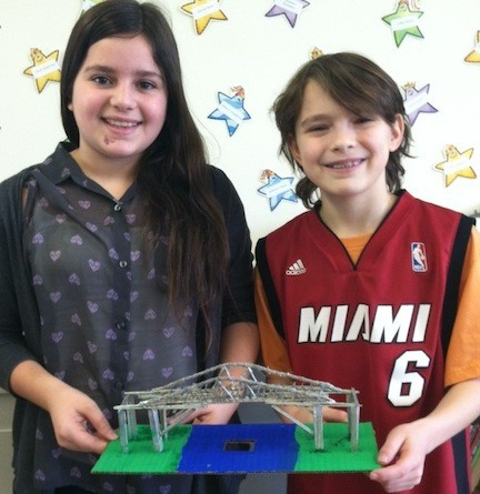 Maria Darmanin and Troy Pastor were all smiles at the bridge-building competition.