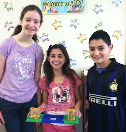 Madeline Jutsen, Sarah Multer and Gabe Cohen, of Birch Elementary School, with their bridge.