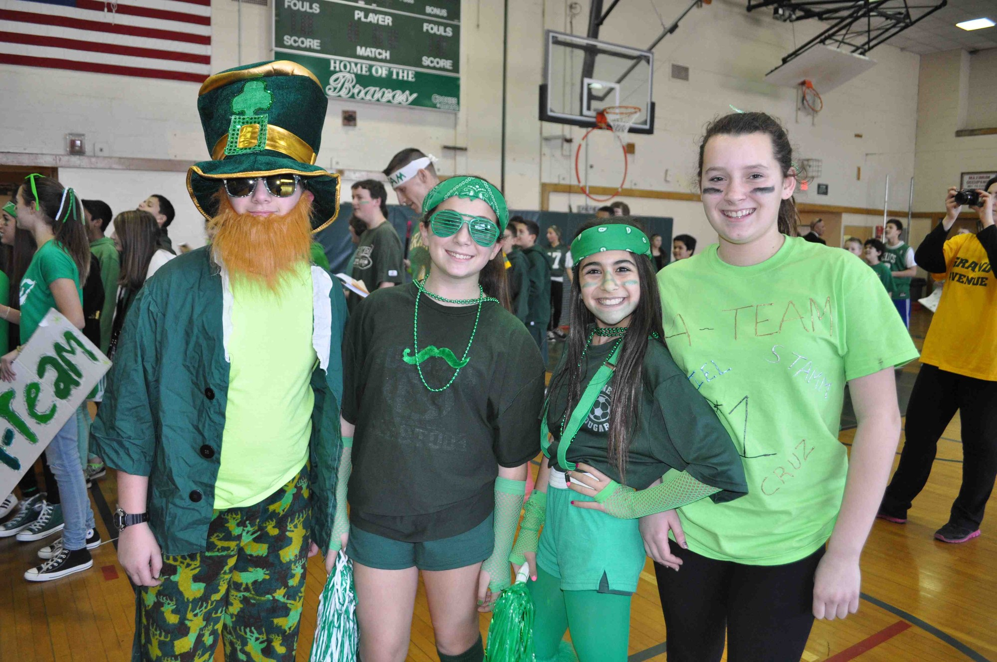 Students on the A-Team wore green for the Grand Olympics.