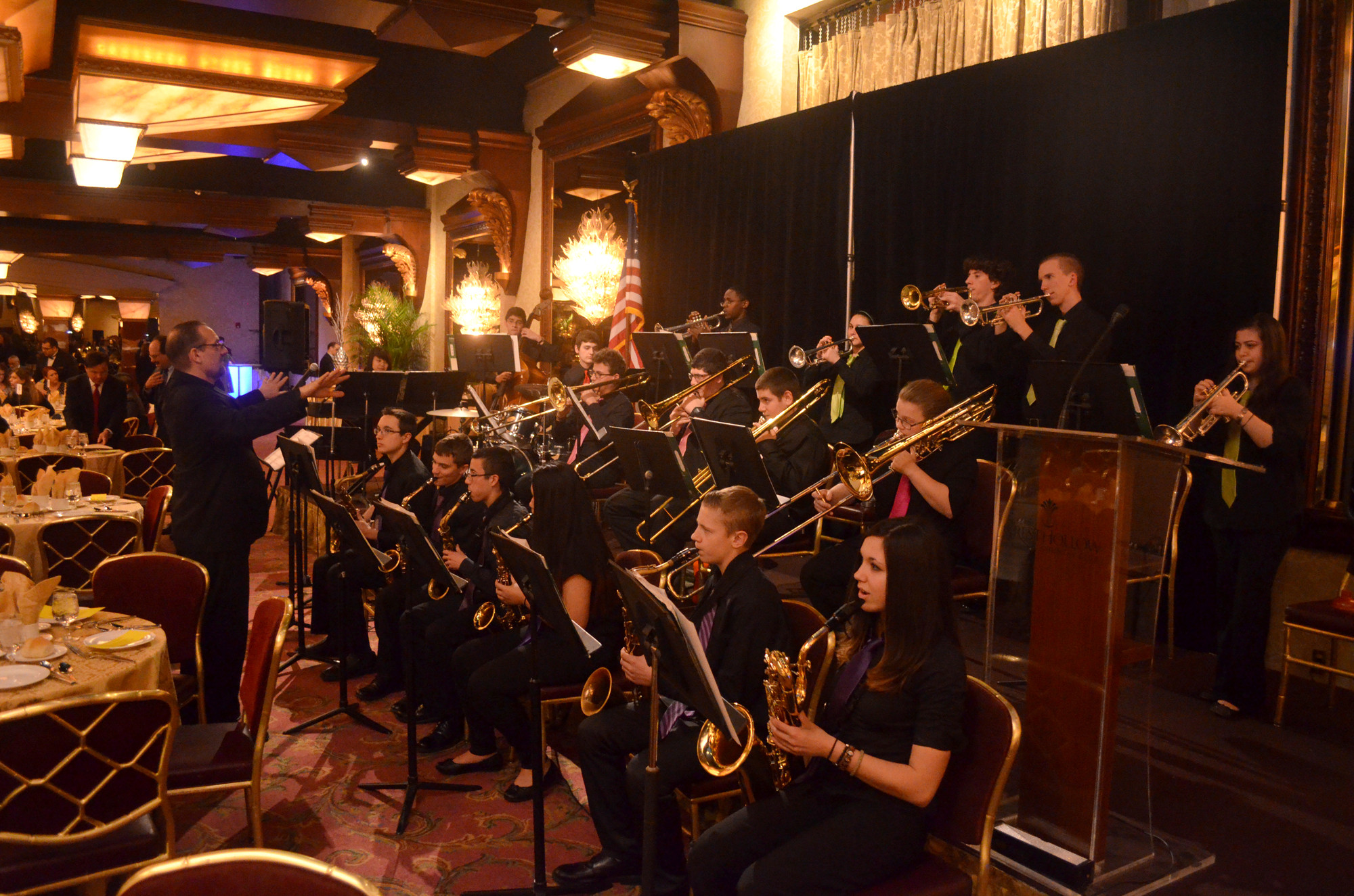 W.T. Clarke High School Jazz Ensemble under the direction of Steven Barbieri performing before the presentations.